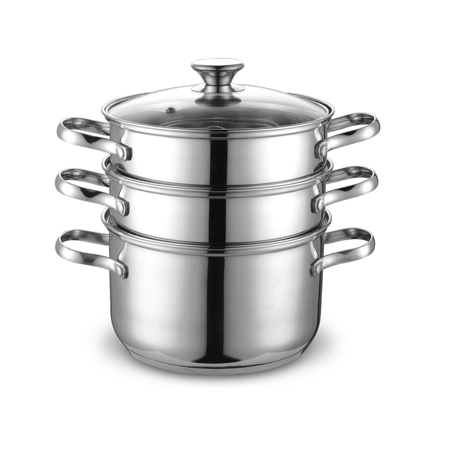 <span style='font-size: 1.1em; color: #4B9000'>Cook N Home Double Boiler and Steamer Set</span>.<br /><br /> Cookware is stainless steel, mirror polished for long last shine, encapsulated bottom is designed for even heat distribution.