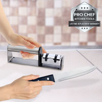 Knife Sharpener 2 Stage Diamond Hone Pro Chef Kitchen Tools Stainless Steel Twin Sharpening System